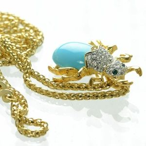 KENNETH JAY LANE Gold Tone Beetle Pendant Necklace